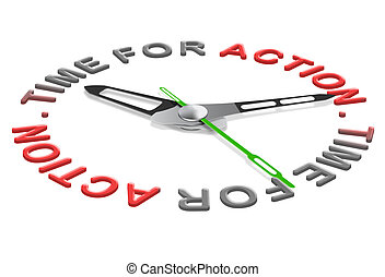tiem for action - action time start business or sport clock...