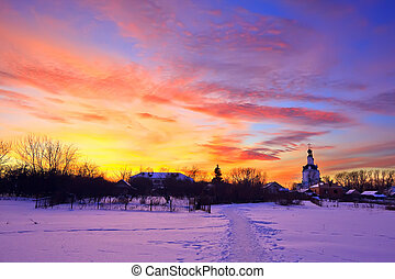 Sunset in winter park - Colorful sunset, russian countryside...