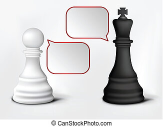 Dialog of Pawn and King - Chess Pawn and King Isolated on...