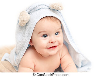 Cute baby with towle on white