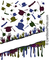 Grunge background illustration of a group of graduates tossing