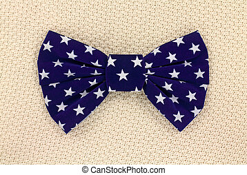 Blue bow tie with stars - A large blue bow tie with white...
