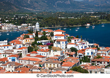 View on Poros and Galatos, Greece