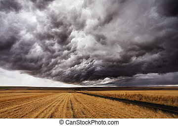 Storm front. A huge thundercloud above fields of Montana,...