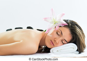 getting spa - a beauty woman getting spa