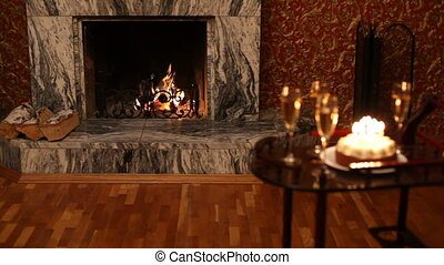 Fireplace in house - Fireplace during holiday