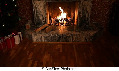 Fireplace in room of house