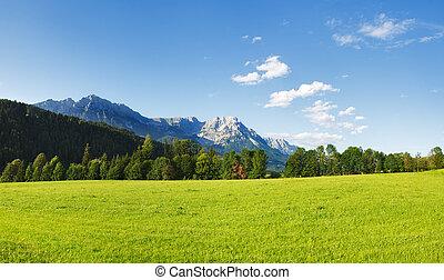 Tirol - Wilder Kaiser mountains in Tirol, panoramic view,...