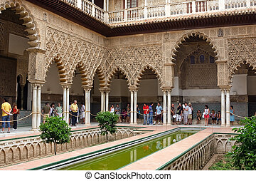 Alcazar in Sevilla - Alcazar, Sevilla, Spain - JULY 20,...