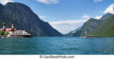 Konigssee - Panoramic view of Konigssee lake from boat,...