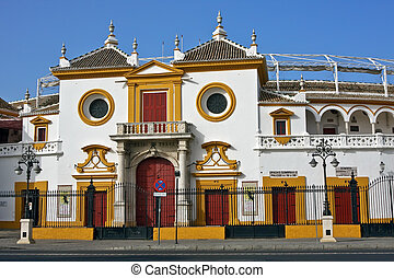 Sevilla - Entrance of the Plaza de Toros (arena), Sevilla,...