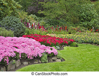 Charming flower bed - Charming multi-colour flower bed in...