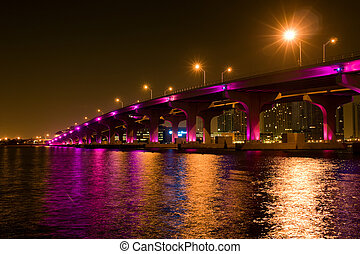 Bridge in Miami - Night view of the bridge in downtown...
