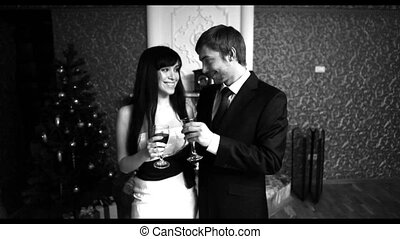 Romantic evening - Black-and-white video of a young couple...