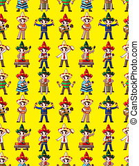 cartoon Mexican music band -seamless pattern,vector