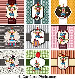9 cute cartoon clown card