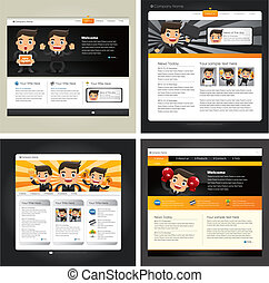 Business Man,4 Web site design template, vector