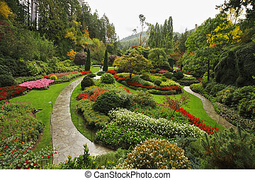 Butchard - garden on island Vancouver in Canada -...