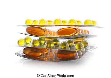 Nutritional supplement pills - Stack of gel nutritional...