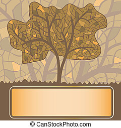 vector stained glass stylized autumn tree with frame for your text