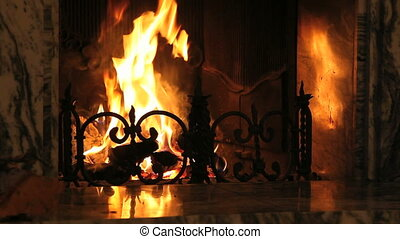 Home fire - Fire in the decorative fireplace