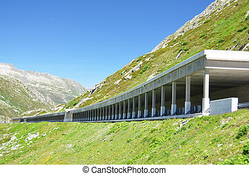 Road gallery at St Gotthard pass, Switzerland