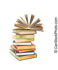 open book on a pile of books isolated on a white background...