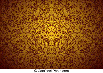 Ornament Gold Background - Cambodia ornament in Angkor Wat...