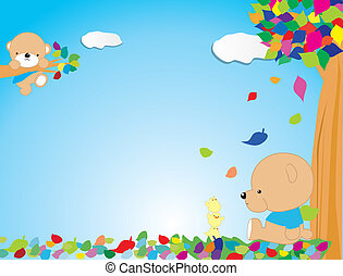 A coloured funny frame with bear and tree