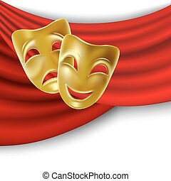 Theatrical masks - Theatrical mask with a red ribbon. Mesh.