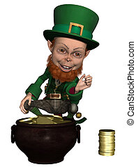 Leprechaun - 3d render of a irish leprechaun