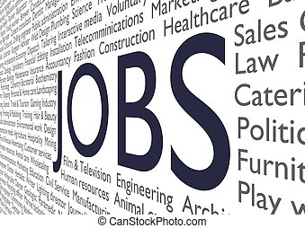 Jobs - Text of many job types and industries with the word...