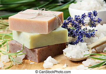 Homemade Soap with Lavender Flowers