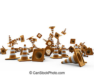 road cones isolated on white background