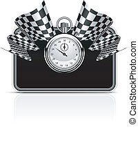 StopWatch_Flag_Back - Checkered flag with a stopwatch...