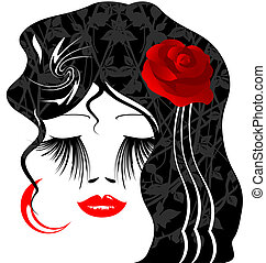 female image with red rose in her hair