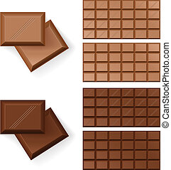 Chocolate bars - Set of Chocolate bars Illustration on white...