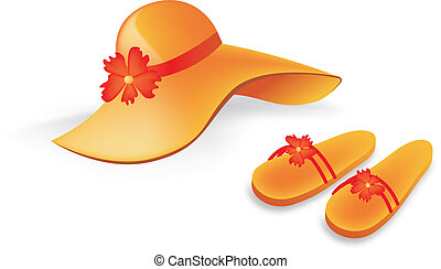 orange beach hat and slippers with flower