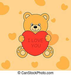 oso-corazon - love postcard bear hugging a heart
