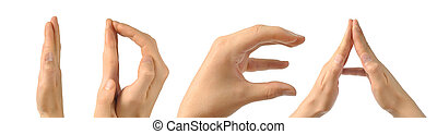 Human hands building the word quot;ideaquot; - Six hands...