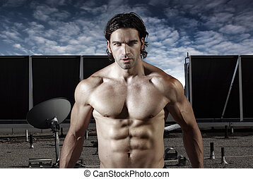 Male model - Fashion portrait of a shirtless muscular male...