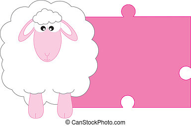 Sheep pink - Baby girl arrival announcement card. Space for...
