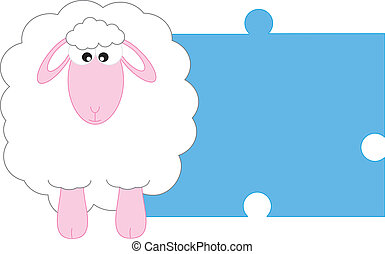 Sheep - Baby boy arrival announcement card. Space for text...