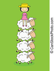 sheeps - White sheep with a girl sitting on