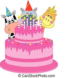 Birthday cake. funny birthday card with animals
