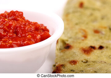 Spicy chili chutney with indian bread - Spicy and hot chili...