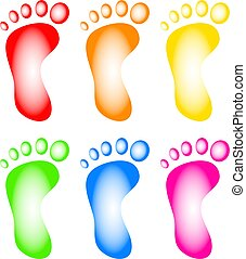 Colourful Feet - Illustration of a collection of six human...