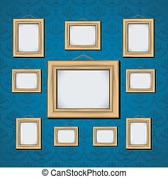 Picture Frames On Blue Wall. EPS 8, AI, JPEG