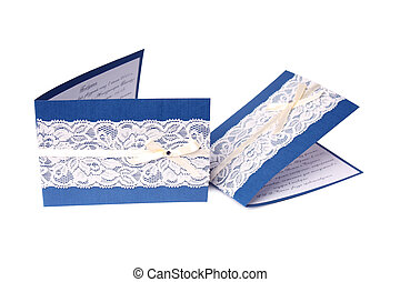 Invitation cards - Close up blue invitation cards with white...