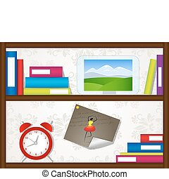Book shelves - Vector picture with book shelves, clock and...